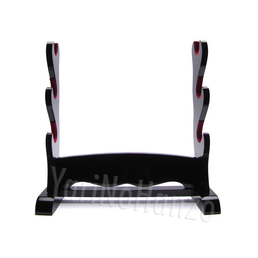 Katana Kake triple | Samurai sword display stand | Black Katana holder