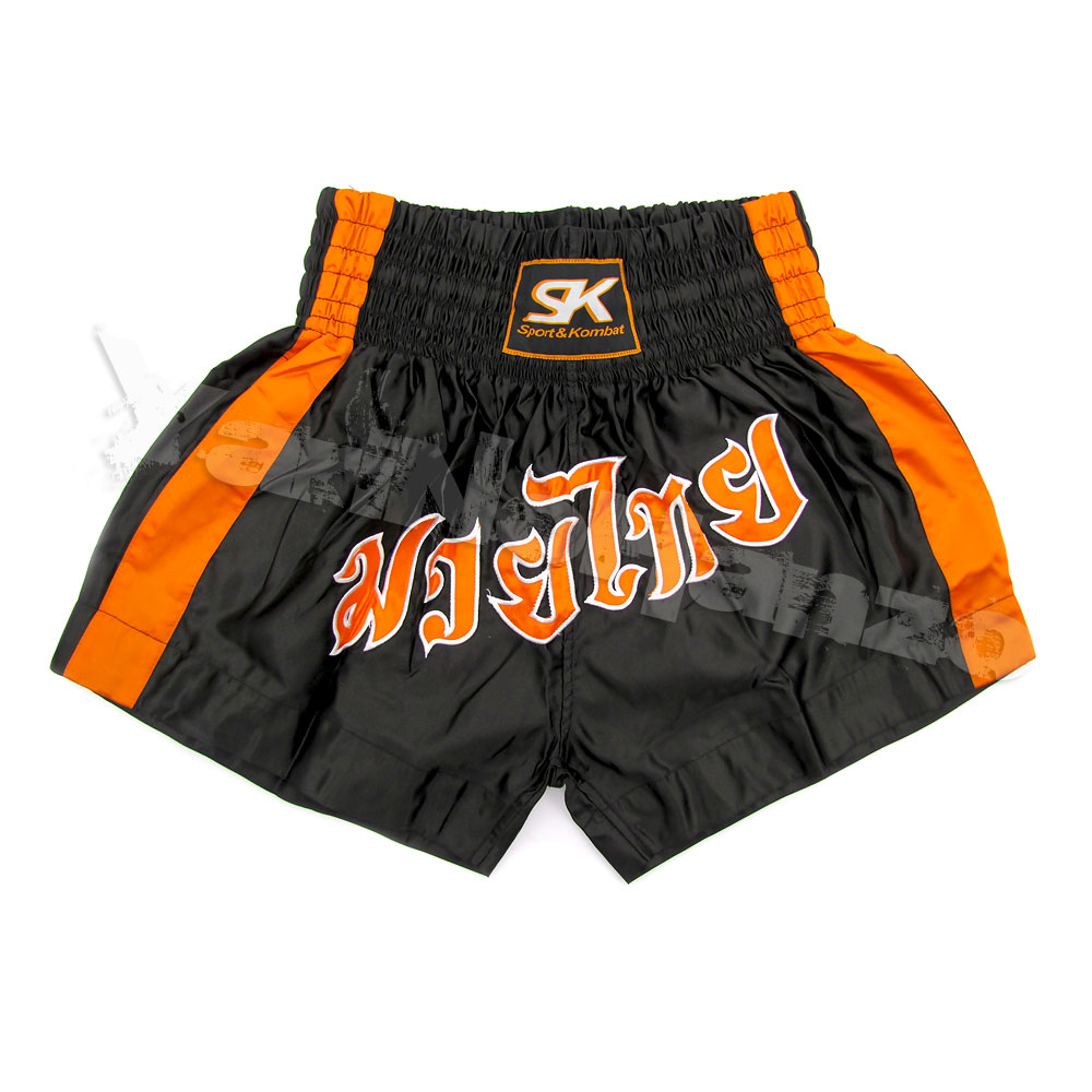 MUAY THAI SHORTS -  BLACK SATIN